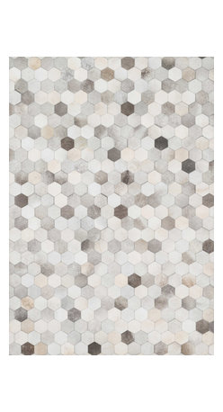 "Loloi Rugs - Loloi Rugs Promenade Collection - Grey, 3'-6"" x 5'-6"" - Hand stitched in India of 100% authentic cowhide, Promenade is a contemporary version of the timeless cowhide rug. The modern collection offers patterns that range in graphic designs with a strong contrast of light and dark hides. And the durable cowhide fiber makes Promenade ideal for your most frequented rooms."