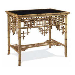 Indian Cove Lodge End Table - I love the unique, British Colonial-inspired  look of this intricate table. The combination of textures, bamboo and leather, make it a striking piece.