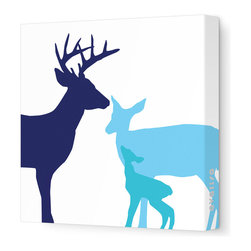 "Avalisa - Animal - Deer Stretched Wall Art, 18"" x 18"", Blue Hue - This endearing work of art will brighten your walls and warm your heart. Each piece is printed on fabric and applied to stretchers for a straight-from-the-gallery look. It would make a wonderful addition to a child's room or nursery."