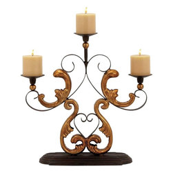 Benzara - Classic Metal Candelabra in Gold Finished Baroque Accents - Lend a classic European touch to your decor with this attractively designed Metal Candelabra. Decorated with elaborate scroll accents, this candelabra combine classis elegance with grandiose. Styled with dull gold finished baroque accents, this piece of metal candelabra is sure to lend a dazzling, captivating charm to decor aesthetics. The ornate appeal of the metal candelabra is perfect for decorating formal table settings and is sure to lend a regal touch to interiors. The wide, fluted metal stands on the candelabra allow you to place three candles or tea lights in a safe, secure manner. The candelabra set is designed with great attention to details from premium grade metal to impart durability and longevity to the charming design. This metal candelabra is an ideal gifting option for your near and dear ones.