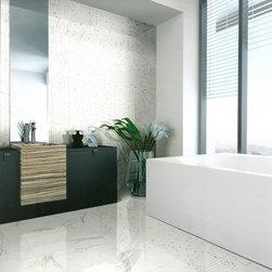 "Bathroom - Calacatta Oro 12"" x 24"" Polished Rectified; 1"" x 1"" Mosaic (Special Order)"