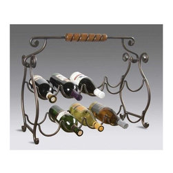 Butler - Metal Wine Rack w Resin Components - * Metal finish. Constructed of resin components. Holds 10 wine bottles. 23 in. W x 10 in. D x 22���_ in. H