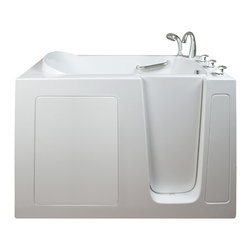 "Ella's Bubbles - Ella Narrow 26"" Wide Soaking Walk In Bath, Right Side Door and Drain - The Ella Narrow 26 in. Wide Walk-In Bathtub is designed for people who have a little amount of space to work within their bathroom. Even though this walk in bathtub fits in the narrowest of spaces, it still offers ample legroom for a relaxing bath. This walk in bathtub is constructed of the highest grade fiberglass composite with a gel coat high gloss finish for beauty and durability. It is supported with a durable stainless steel frame. Just like all Ella Walk In Baths, this narrow walk in bathtub is manufactured with our durable high gloss finish. This narrow walk in bathtub includes an anti-slip floor, low step for easy entrance, an extension panel to fit up to a 60 in. opening, a hand shower with pull out hose and a high quality Huntington Brass Roman Faucet set. You can chose from left or right hand side door and drain, the soaking model or the massage model which is equipped with air, hydro or dual therapy massage options."