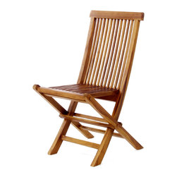 All Things Cedar - Teak Folding Chair - Our folding chairs are made from genuine Indonesian Teak, finished with a light teak oil and fitted with solid brass hardware to ensure many years of trouble-free use. Easily folds away for convenient Storage or transport. Item is made to order.