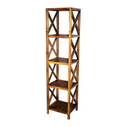 """Master Garden Products - Solid Bamboo Square Shelves, five tiers, 14.5""""W x 13""""D x 60"""" H - Our bamboo shelf and racks can be used in residential or commercial premises. Use them in your bathroom as a towel rack, in the living room as a book shelf, or for your business as a retail display shelf."""