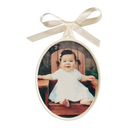 """Exposures - Custom Vertical Porcelain Photo Ornament - Overview Create a treasured keepsake for parents or grandparents with this custom vertical porcelain photo ornament. Well transfer your photo directly onto an ivory porcelain ornament in your choice of B&W, color or sepia. Our new vertical orientation porcelain ornament is oversized for better display of your vertical photos. Personalize the back with your message in gold script (up to 2 lines, 13 characters per line). Ivory satin hanging ribbon included. Vertical photo ornament measures 3 3/4"""" x 5 1/8"""" overall.  No returns on personalized items unless the item is damaged or defective"""