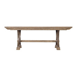 Stanley-Coastal Living - Shelter Bay Table - Etched with the laid-back feel of a coastal getaway, The Shelter Bay Table from Stanley Coastal Living blends classic design with enduring style. Built with family gatherings in mind, the wooden trestle table has 2 bread board end leaves that extend the table, allowing space for 10. This antiqued pewter trestle base combined with a weathered pier finish lends an industrial feel to this beautiful dining table. Relax every evening over dinner with family, and make each night feel like a vacation.