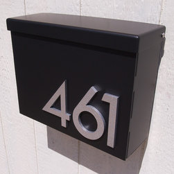 Custom Modernist House Number Mailbox No. 1310 in Powder Coated Aluminum Black - Custom Modernist House Number Mailbox No. 1310 in Powder Coated Aluminum Black