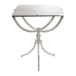 Art Deco Nickel Square Table with Marble Top - The ultra-modern design and square marble top of this table comes from the Country chic furniture collection. It defines style and comfort with well-detailed borderlines. It stands tall on large tripod legs that makes it balanced.