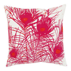 Surya - Peacock Feathers, Hot Pink Pillow - Florence Broadhurst gives a new modern twist to pillows with this unique feather design. Sure to add a fun touch to any room, these pillows are 100% cotton and include a down insert.