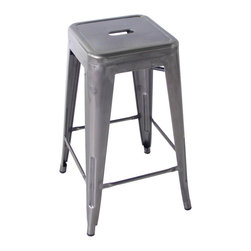 Kathy Kuo Home - Bouchon French Industrial Steel Backless Cafe Bar Stool - Set of 4 - This iconic industrial metal bar stool, constructed of glossy steel, defines the utility and flexible use that makes loft style so smart.  Used indoors or out, the classic lines evoke the breakrooms and old fashioned working man's bars from Paris to Pittsburgh.