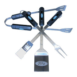 Ford - Ford Barbecue Set - This set offers all the tools needed to bring the barbecue game to the next level. Each piece is perfectly coordinated to show dedication to grilling and favorite cars at any cookout or tailgating party.   Includes spatula, tongs, fork and basting brush Stainless steel / ABS Hand wash Imported