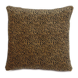 Frontgate - Leopard Spotting Pillow - Made by Eastern Accents. Cheetah and lion pillows are meticulously hand-painted and feature corner beads. 100% velvet, front and back. Fully lined. Zipper closure. Add color, texture, and whimsy to your home with our handmade Safari Throw Pillows. These gorgeous velvet pillows are filled with down and are the perfect animal accessory to any wildlife-themed decor.  .  .  .  .  . Dry clean only. Down insert . Because this bedding is specially made to order, please allow 4-6 weeks for delivery.. Made in USA.