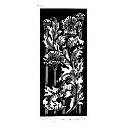 Poppies, Limited Edition, Hand Printed Work - You may think of poppies as red but artist David Page sees them as starkly black and white. The detail in this woodcut is only surpassed by the composition. Simply framed it would be a focal point on your wall.
