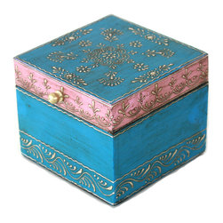 """MarktSq - Wooden Hand Painted Jewelry Box in a Beautiful Pink and Blue - Rustic hand painted jewelry box ideal for storing jewelry or other trinkets. The box has a distressed finish and a brass pull and features an intricate pattern in silver that adds to it's elegance. The approximate dimensions are L 4.6"""" x W 4.6"""" x H 3.8""""."""