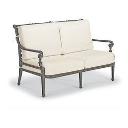 Frontgate - Carlisle Outdoor Loveseat with Cushions in Gray Finish - Fine-furniture design. 100% ingot aluminum, a premium quality material. Hand-filed welds. Rich, multilayered slate finish with UV protected top coat. Cushions included. Our Carlisle Slate Loveseat's impeccable, grandly scaled cast-aluminum frame is crafted to stand the test of time. Fine furniture details such as scrolling arms and crisscrossing backs are in a rich, multilayered onyx finish. Premium 100% solution-dyed fabrics encase the seat and softly rounded back cushions. Part of the Carlisle Slate Collection.  .  .  .  .  . 100% solution-dyed and woven fabrics . All-weather cushions have a high-resiliency foam core wrapped in plush polyester . Cushions also available with 100% waterproof Sunbrella Rain performance fabric.