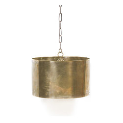 Go Home - Large Antique Brass Steel Drum Light - Envision this hip and trendy light fixture hanging over one of our magnificent tables surrounded by our linen-covered chairs ��_a match made in heaven! Beautifully crafted from brass with an antique-brass finish, this striking light fixture is the essence of urban chic!