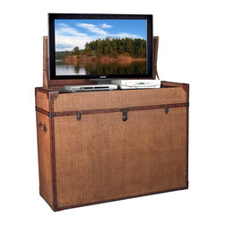Import Advantage - Bermuda Run Lift Top TV Cabinet - Radio frequnecy remote. Lift with three power outlets for TV and two pieces of AV equipment. TV mounting hardware and bracket. Handmade and unique. Covered with yards of hand cut and applied wicker matting. Immaculately stitched and installed. Antique leather accents on the handles and cabinet perimeter. Thick leather-bound corners and edges. Stitched and installed using hundreds of antique nail heads. Four sides finished. Wicker matte resistant to scratches. Lift with heavy duty rack and pinion with electronics tray. Electronics tray allows two pieces of equipment. Cord slots throughout interior of cabinet. Patent pending lift. UL recognized rack and pinion. Houses most 32 in. to 47 in. TV's. Warranty: One year. Made from solid plywood core and welded steel. Raffia finish. No assembly required. Maximum lift equipment depth: 13.25 in.. Maximum loading wieght: 80 lbs.. Max TV capacity: 44 in. W x 4.75 in. D x 28.88 in. H. Overall: 51.56 in. W x 18.69 in. D x 38.75 in. HOur Bermuda Run trunk TV Lift is finished on all 4 sides and can be used at the foot of the bed, against the wall, or free standing.