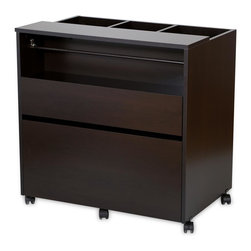 South Shore - Craft Storage Cabinet in Chocolate Finish - Three open storage bins on top. A rod for holding rolls of ribbon and a shelf for storage baskets. Top storage drawer perfect for pencils, storage baskets and small tools. Bottom drawer can hold letter or legal size folders. Five multidirectional casters, two of them with built-in stops. Full-extension metal slides. All surfaces are laminated. Warranty: Five years limited. Made from laminated particle boards. Pure white finish. Made in Canada. Small drawer: 26.63 in. W x 13.63 in. D x 2.88 in. H. Large drawer: 26.63 in. W x 15.88 in. D x 8.88 in. H. Overall: 30 in. L x 19.5 in. W x 30 in. H (76 lbs.). Assembly InstructionsEvery artist needs a dedicated space  be it for DIY, sewing, or making jewelry. This mobile, versatile, and compact storage unit means you can keep all your creative materials in one place and take them with you, from room to room, without having to put them all away when youre not working on something. And its neutral finish and clean lines mean it also blends easily into the decor of any room in your home. So you can spend more time being creative and less time organizing your space!
