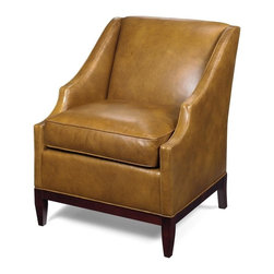 EuroLux Home - New Accent Chair Wood Leather Nailhead Trim - Product Details
