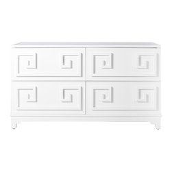 Worlds Away - Worlds Away Four Drawer White Lacquer Dresser WERSTLER WH - Four drawer white lacquer dresser. All drawers on glides.