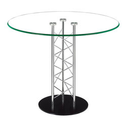 """Tosh Furniture - Como Dining Table Clear Glass - Like an architectural tower, the Como dining-�table has a clear tempered glass top with a chromed steel tube center and a black solid steel base plate. The intricate diagonal latticing comes in both bar and dining heights. Clear Glass; Tempered Glass; Chromed Steel Finish; Some assembly required; Dimensions: 39""""W x 39""""L x 30""""H"""