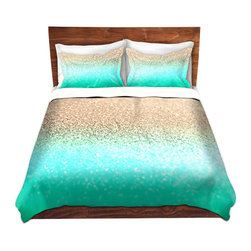 DiaNoche Designs - Duvet Cover Twill - Gatsby Aqua Ombre Gold - Lightweight and soft brushed twill Duvet Cover sizes Twin, Queen, King.  SHAMS NOT INCLUDED.  This duvet is designed to wash upon arrival for maximum softness.   Each duvet starts by looming the fabric and cutting to the size ordered.  The Image is printed and your Duvet Cover is meticulously sewn together with ties in each corner and a concealed zip closure.  All in the USA!!  Poly top with a Cotton Poly underside.  Dye Sublimation printing permanently adheres the ink to the material for long life and durability. Printed top, cream colored bottom, Machine Washable, Product may vary slightly from image.