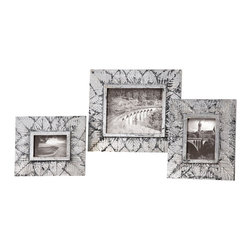 """Grace Feyock - Grace Feyock Foliage Silver Photo Frame X-86581 - Display your special photos in these frames made of natural leaves covered in a distressed, silver leaf finish with light antiquing. Holds photo sizes: 8"""" x 10"""", 5"""" x 7"""",4"""" x 6"""". Frames sizes: Large - 14"""" x 16"""" x 1"""", Medium - 11"""" x 13"""" x 1"""", Small - 10"""" x 12"""" x 1""""."""