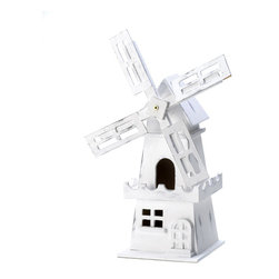 KOOLEKOO - Windmill Birdhouse - Time for the birds to go Dutch— with a windmill house, that is. Let them upgrade to this lovely distressed white birdhouse with a windmill for a little flavor of the Netherlands.
