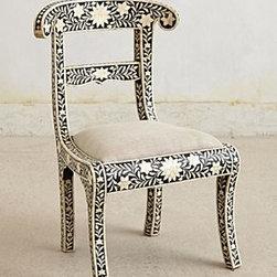 "Anthropologie - Fern Inlay Dining Chair - Inlaid finishLinen upholsteryMango wood, bone frame; polyfillSpot clean35""H, 21""W, 17""D17.5"" seat heightImported"
