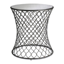 Kathy Kuo Home - Cuff Modern Wire Frame Lattice Accent Mirrored Side Table - This wrapped and wavy wrought iron base transfixes the eyes with movement and visual texture.  The circular table makes a great accent piece to any modern space with its repeated pattern and antique mirrored round top.  For everyday care, dust with a clean, dry cloth.