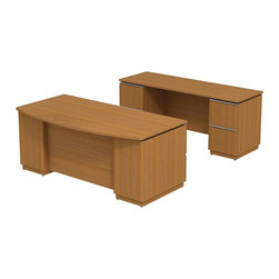 "Bush - Bush Milano 2 72"" Double Pedestal Desk with Credenza in Golden Anigre - Bush - office Sets - MI2022GA - Welcome to your new office. For doing your job well you've earned the freedom and means to express your personal taste. Milano 2 appeals to your practical side and looks good doing it. Specify the Bush Milano 2 Line Harvest Cherry or Golden Anigre 72""W Double Pedestal Desk for all home or office environments. Store supplies and files in the dual pedestal box/box/file and file/file combination drawers. Secure lockable file pedestals hold letter- legal-or A4-size files. Full extension ball bearing slides allow easy access to back of drawers. Gang lock for drawers is neatly concealed in knee well. The Milano 2 72""W Double Pedestal Kneespace Credenza fits between two cabinets adds an attractive streamlined yet highly functional capability to any executive suite. Two lockable file drawers hold letter- legal-or A4-size files. Accepts the 72""Credenza overhead for maximum storage and surface workspace. Extruded aluminum door and drawer pulls are tasteful and contemporary. Back panel cutout for wire management conceals unsightly cords and cables. Durable contoured edge banding minimizes nicks dents or other collisions. Diamond Coat top surface resists scratches abrasions and stains. Sides and other surfaces are resilient thermally fused laminate that stand up to years of use. Make a classic statement in any executive office. Includes Bush limited Lifetime warranty."