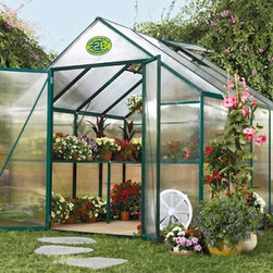 STC EasyGrow 8 x 8-Foot Greenhouse Kit - Additional features:Peak height: 7.16 feetSidewall height: 5.6 feetPole height: 5 feet 8 inchesDoor dimensions: 50W x 72H inchesCrisscross steel wires make the greenhouse sturdyCorrosion-free materialsForest green color The STC EasyGrow 8 x 8-foot Greenhouse allows you grow beautiful plants from seeds. Whether you like to grow flowers, vegetables, herbs, or other plants, you can have your very own greenhouse for your home garden or nursery with this sturdy, durable structure. Constructed of powder-coated, forest green, heavy-gauge extruded aluminum with walls made of 4mm twin opaque acrylic polycarbonate, this greenhouse has everything you need to keep your plants healthy and safe. The aluminum-framed, hinged French doors and roof and side venting system with an auto opener are just two of this greenhouse's outstanding features that will help your plants bloom.This beautiful greenhouse has a standard roof vent for fresh air entry, and side vents ensure proper air circulation. Two shelves span the full length of the greenhouse so you can keep your plants organized and safe as well as create a potting area. The greenhouse is made of corrosion-free materials that can stand up to the elements.EasyGrow's rigid-frame structure has vertical sidewalls and rafters for clear-span construction. There are no columns or trusses to support the roof. Glued or nailed plywood gussets connect the sidewall supports to the rafters to make one rigid frame. The conventional gable roof and sidewalls allow maximum interior space and air circulation.EasyGrow's acrylic polycarbonate has a prism design that captures more light than any greenhouse on the market. The multifold crystal roofing allows you to maximize the sun's power, capturing the sun's energy for light and heat during cool winter to make your growing experience more efficient and economical. This design also reduces the accumulation of snow.This greenhouse is sturdy and durable, due to the high-quality frame and crisscross steel wire system. Construction requires no base, and easy-to-read picture assembly instructions make it a breeze to erect your very own greenhouse. Patented Push & Click connecters enable you to build the greenhouse using only a Phillips screwdriver and pliers. Assembly is a weekend project for one or two people. Dimensions: 8W x 8L x 7.5H ft.About Systems Trading Corporation.Systems Trading Corporation (STC) was incorporated in 1994 as a manufacturer and distributor of high-quality, innovative, easy-to-use products at affordable prices. The company is privately held, with a skilled professional staff. Among the products offered, you will find the most innovative line of TV and flat-screen wall and ceiling mounts, the USA's best-selling backyard hobby greenhouses, the world's best-selling robotic lawn mower, and mini coolers and mood light products.