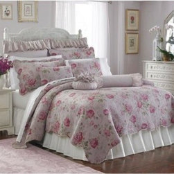 Lenox Vintage Floral Quilt Bedding Set - Summery and feminine. The Lenox Vintage Floral Quilt Bedding Set is a graceful way to make your bedroom truly your own. This quilt and bedding collection is made of soft polyester fabric for comfort. Its soft pink and all-over rose design lends beauty to your space. Frilly and fun optional pillows bring style home. This set comes in multiple sizes and with a variety of optional add-ons. Choose just the quilt or add standard and Euro pillow shams and plush decorative pillows to complete the look. About Suntex DesignsBased in Southern California, Suntex Designs creates, manufactures, and distributes a wide variety of home textile products under various name brands all over the world. Products are distributed under licensed, in-house private label brands. The Suntex goal is to create fresh, innovative home products that showcase quality and reliability for the consumer.
