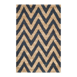 """Safavieh - Blondell Jute Rug, Blue / Natural 2'6"""" X 4' - Construction Method: Hand Knotted. Country of Origin: India. Care Instructions: Vacuum Regularly To Prevent Dust And Crumbs From Settling Into The Roots Of The Fibers. Avoid Direct And Continuous Exposure To Sunlight. Use Rug Protectors Under The Legs Of Heavy Furniture To Avoid Flattening Piles. Do Not Pull Loose Ends; Clip Them With Scissors To Remove. Turn Carpet Occasionally To Equalize Wear. Remove Spills Immediately. Fashion meets sustainability in Safavieh's new Organica collection of eco-friendly original designs hand-knotted of 100 percent high-quality jute pile on a cotton warp and weft. The biodegradable jute fiber specially selected for our rugs is harvested from Cannabis Sativa (commonly known as the _true hemp� plant) and is twice washed to soften each yarn before weaving. Safavieh's trained artisans then brush the jute yarn to an even more lustrous sheen before it is hand-knotted into organic floor coverings of unrivaled softness and beauty. The Organica collection is woven in India."""
