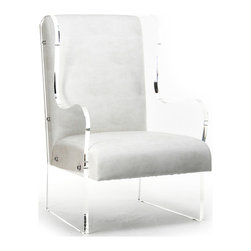 Kathy Kuo Home - Modern Art Deco Ivory Faux Leather Acrylic Wing Back Chair - A mod mash up of statement-worthy elements, this acrylic wingback combines traditional lines with the most contemporary of materials.  A masculine alternative or counterpart to the now-iconic acrylic Louis chair, this smartly upholstered piece creates a fresh, attractive look that is as easy to care for as it is easy on the eyes. Made to order: please allow 3-4 weeks lead time for production.