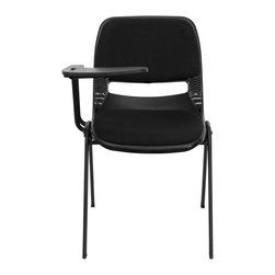 Flash Furniture - Padded Black Ergonomic Shell Chair with Right Handed Tablet Arm - This is the perfect tablet arm chair for any classroom or training room setting. The simplistic design makes this Flash Furniture Tablet Arm Chair a versatile and welcomed addition to your school or in the home. This chair features a comfort-formed back and contoured seat with waterfall front. Along with a comfortable sitting experience you get the added security that this chair will endure the test of time.
