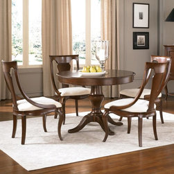 "American Drew - American Drew Cherry Grove New Generation Pedestal Dining Table Multicolor - ADL - Shop for Dining Tables from Hayneedle.com! Enhance your dining area with the classic and clean style of the American Drew Cherry Grove New Generation Pedestal Dining Table. This round table is crafted of hardwood solids with cherry veneers and is given a deep Brown Cherry finish. The pedestal design and four footed base add to the traditional appeal of this table. The top of the table features a high gloss finish that complements the patterned wood grain. Expand its seating possibilities with an additonal leaf when needed. Complete the look of your dining space with this beautiful piece paired with our matching chairs and other dining furniture options. Comes with 18 in. extension leaf. Table dimensions: 42-60L x 42W x 30H inches. This purchase is for dining table only please see ""Related Items"" for matching chairs or complete dining set. About American DrewFounded in 1927 American Drew is a well-established leading manufacturer of medium- to upper-medium-priced bedroom dining room and occasional furniture. American Drew's product collections cover a broad variety of style categories including traditional transitional and contemporary. Their collections range from the legendary 18th-century traditional ""Cherry Grove "" celebrating its 42nd year of success to the extremely popular ""Bob Mackie Home Collection "" influenced by the world-renowned fashion designer Bob Mackie. ""Jessica McClintock Home"" features another beloved designer bringing unique style to an American Drew line. American Drew's headquarters are located in Greensboro N.C. Their products are distributed through thousands of independently owned retailers throughout the United States and Canada and around the world."
