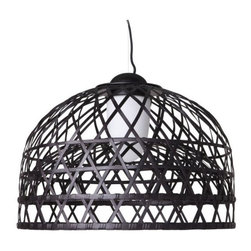 Moooi - Emperor Suspension - Emperor collection resembles the hand woven bamboo cage in the Imperial Chambers. Features a bamboo rattan cage in red or black and includes glass diffuser that creates a warm glow of light. Each cage is woven by hand and therefore has a unique character. Features chrome canopy and 156 inch black textile cable length. Medium: One 26 watt, 120 volt T5/2G11 compact fluorescent bulb is included. Large: Two 36 watt, 120 volt, T5/2G11 base compact fluorescent lamps are included. General light distribution. UL listed. Medium: 39.4 inch width x 28.7 inch height. Large: 63 inch diameter x 45.3 inch height.