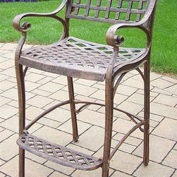 Oakland Living - Outdoor Barstool with Footrest - Fade, chip and crack resistant. Traditional lattice pattern. Metal hardware. Lightweight. Warranty: One year. Made from rust-free cast aluminum. Antique bronze hardened powder coat finish. Minimal assembly required. 21.5 in. W x 22 in. D x 46 in. H (47 lbs.)This Bar stool will be a beautiful addition to your patio, balcony or outdoor entertainment area. Bar stools are perfect for any small space, or to accent a larger space. The Oakland elite collection combines old world charm and modern designs giving you a rich addition to any outdoor setting. Each piece is hand cast and finished for the highest quality possible.
