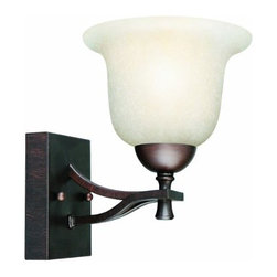 DHI-Corp - Ironwood 1-Light Wall Sconce, Brushed Bronze - The Design House 517540 Ironwood 1-Light Wall Sconce is made of formed steel, soft snow glass and finished in brushed bronze. This 1-light wall mount is rated for 120-volts and uses (1) 60-watt medium base incandescent bulb. This sconce's petite design mounts seamlessly to the wall without a chain or visible wires. Measuring 8.5-inches (H) by 6.75-inches (W), this 2.42-pound fixture can be mounted facing up or down depending on location and preference. Bold, curved steel accentuates the snow glass to create an elegant centerpiece in a hallway, entry way or bathroom. This product is UL and CUL listed and approved for damp areas. The Ironwood collection features a beautiful matching chandelier, vanity light, ceiling mount and mini pendant. The Design House 517540 Ironwood 1-Light Wall Sconce comes with a 10-year limited warranty that protects against defects in materials and workmanship. Design House offers products in multiple home decor categories including lighting, ceiling fans, hardware and plumbing products. With years of hands-on experience, Design House understands every aspect of the home decor industry, and devotes itself to providing quality products across the home decor spectrum. Providing value to their customers, Design House uses industry leading merchandising solutions and innovative programs. Design House is committed to providing high quality products for your home improvement projects.