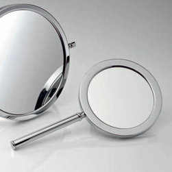 Smile - Smile 708 Magnifying Mirror 3x - Smile 708 Magnifying Makeup Mirror, 3x Magnification - Magnifying Makeup Mirror - in Chrome - Wall Mounted - Designer, High End Quality Magnifying Makeup Mirror - Made in Germany