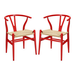 LexMod - Amish Dining Armchair Set of 2 in Red - Time flows effortlessly through the Amish wooden dining chair. The craftsmanship is evident throughout a piece that appears both petite and boldly courageous. While Amish conveys a transitional feel with its solid beechwood back and base, the result is an enduring design with a style that doesn't fade. Given the iconic form and staggered-level wooden support rods, Amish deftly develops the interplay between permanence and sequential movements forward. The seat is made of paper rope, a new twine that is eco-friendly, soft, anti-static and durable.