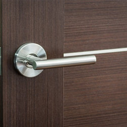 Nova Hardware - Modernus Door Handle / Lever by Nova Hardware, Privacy / Passage - This Modernus door lever is proof positive that less really is more. This minimalistic design features a sleek, contemporary look with a sleek metal handle that allows your door to stand apart with clean cut good looks. This handle is designed to be used on any modern home or office door, and it has a design that conceals all installation hardware so that only the beauty of your door handle shines through. It can be installed on both right handed and left handed doors and it comes with the faceplates and other hardware required for immediate installation in your home or office.