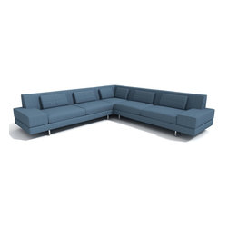 True Modern - Hamlin Corner Sectional Sofa - For maximum seating, outfit your large modern living room or waiting room with a 118-by-118-inch corner sectional. Down-filled pillows give you extra back support, while your choice of six upholstery colors and brushed nickel hardware give you a chic and minimalist look. It's the ultimate in modern luxury.