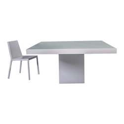 ModLoft - Beech Dining Table - Beech square dining table features central base and table top in lacquer or wood with colored glass top.