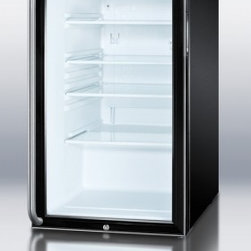 """Summit - SCR500BL7SH 20"""" 4.1 cu. ft. Capacity Glass Door Refrigerator With Factory Instal - SUMMIT SCR500BL7 commercial series features auto defrost glass door refrigerators designed for freestanding use in any 20 space"""