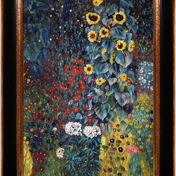 overstockArt.com - Klimt - Farm Garden with Sunflowers - Hand painted oil reproduction of a famous Klimt painting, Farm Garden With Sunflowers. The original masterpiece was created in 1905-06. Today it has been carefully recreated detail-by-detail, color-by-color to near perfection. Gustav Klimt (1862-1918) was one of the most innovative and controversial artists of the early twentieth century. Influenced by European avant-garde movements represented in the annual Secession exhibitions, Klimt's mature style combines richly decorative surface patterning with complex symbolism and allegory, often with overtly erotic content. This work of art has the same emotions and beauty as the original. Why not grace your home with this reproduced masterpiece? It is sure to bring many admirers!
