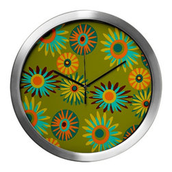 Crash Pad Designs - Mod Wall Clock, Mid Century Modern Wall Clock, Decorative Wall Clock - Our 14 inch mod wall clock, will make a big retro statement in your pad. This aluminum clock has a quartz movement, aluminum hands, and a glass cover. The face is your favorite Crash Pad Designs pattern. * 1 AA battery included