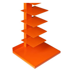 "Holly & Martin - Holly & Martin Heights Book/Media Tower, Orange - Energize your home with bright accents! This cheerful media tower creates an artistic focal point in any room. The upright design saves valuable space and works well in large or small places.   This tower features 11 metal shelves for storing books, magazines, movies, or decorative items. The bright, orange painted finish and powder-coated metal combine for long-lasting quality.  This extremely versatile tower works as a bookshelf in the bedroom, a media stand for the family room, or even as a towel stand in the bathroom. The bold color works best in transitional to modern homes.  Please note: Our photos are as accurate as possible, but color discrepancies may occur between the product and your monitor. The handcrafted touch of artisan skill also creates variations in color, size, and design: slight differences should be expected.  - FEATURES:                                                                                             - Spacious storage on 11 open shelves                                                                   - Painted orange finish                                                                                 - PRODUCT SPECIFICATIONS:                                                                               - Base: 16"" W x 14"" D x 1"" H                                                                            - Spine: 3"" W x 1.5"" D x 55.25"" H                                                                       - Shelves: 7.75"" W x 7.75"" D x 4.25"" H (each)                                                           - Supports up to 9 lb. per shelf                                                                        - Constructed of powder-coated tube and sheet metal                                                     - Assembly required                                                                                     - 16"" W x 14"" D x 55.25"" H"